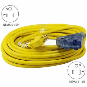Conntek 100-Foot Lighted End Outdoor Extension Cord w/ 3 Outlets (12-Gauge)